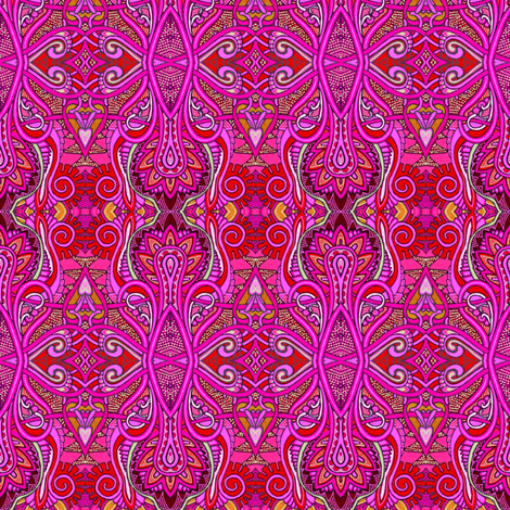 Red Hot Summer of Love (Hippie Trippy Retro Boldness) fabric by edsel2084 on Spoonflower - custom fabric