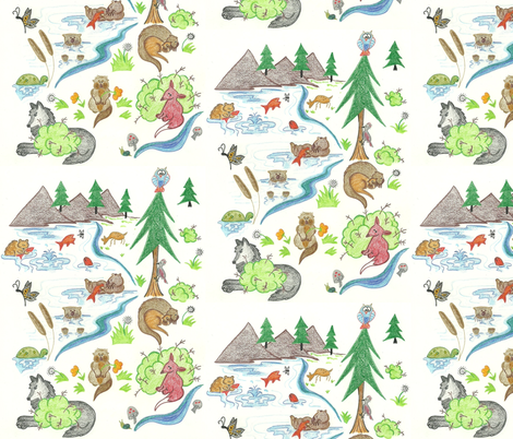Otterly Fun with Bear and Wolf fabric by kbexquisites on Spoonflower - custom fabric