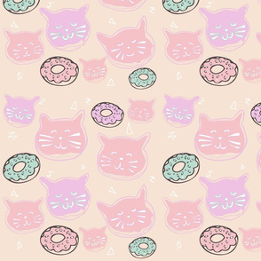 fabric: cat doughnuts - pastel (smaller scale)