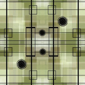 Green Brown Plaid Squares with Line and Circle Pattern