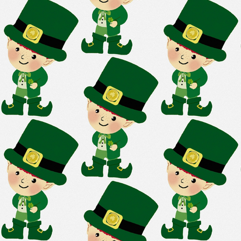 Leprechaun / white fabric by paragonstudios on Spoonflower - custom fabric