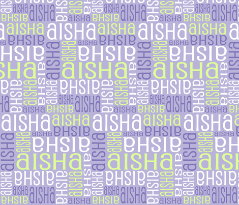 Personalised Name Fabric - Purple Green fabric by shelleymade on Spoonflower - custom fabric