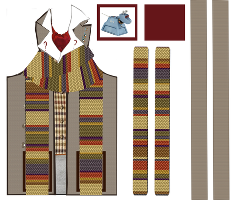 4th Doctor Apron & Pot Holder Set 2 fabric by jennofalltrades on Spoonflower - custom fabric