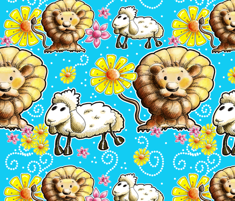 The Lion and the Lamb by Miraculous Mosquito fabric by miraculousmosquito on Spoonflower - custom fabric