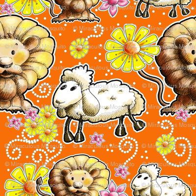 Lion and Lamb with Orange Background