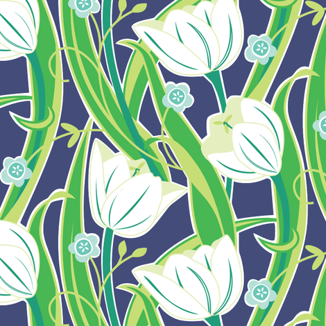 Tulip Friends navy fabric by jillbyers on Spoonflower - custom fabric