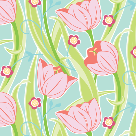 Tulip Friends  fabric by jillbyers on Spoonflower - custom fabric