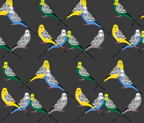 Parakeets Looking at You - Multi/Grey fabric by owlandchickadee on Spoonflower - custom fabric