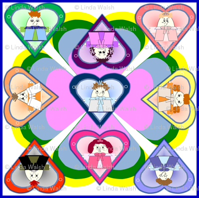 Hawk Family With Hearts In Squares Fabric