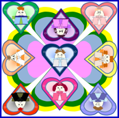 Hawk Family With Hearts In Squares