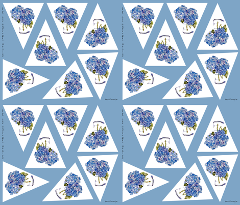 cape cod hydrangeas bunting fabric by karenharveycox on Spoonflower - custom fabric