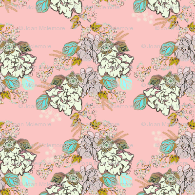 Retro Gardenia floral on pink