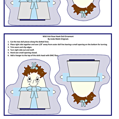 Wild Irish Rose Hawk Cut and Sew Doll Ornament fabric by lworiginals on Spoonflower - custom fabric