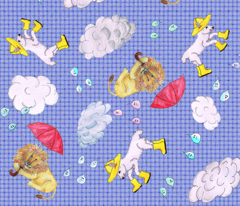 Lions and Lambs and Raindrops, Oh My fabric by hsarik on Spoonflower - custom fabric