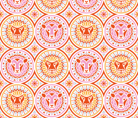 Lions & Lambs Medallions  fabric by tabula_rosi on Spoonflower - custom fabric