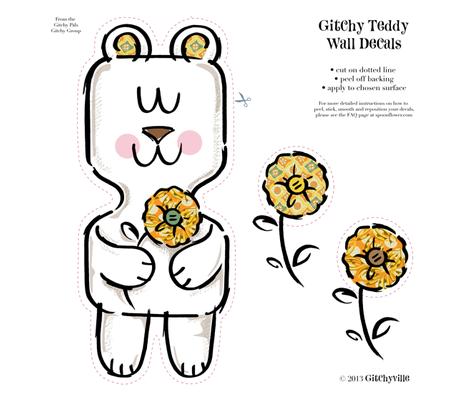 Gitchy Teddy Wall Decal 15 x 15