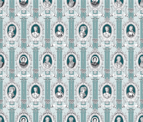 Toile de Jouy - Science Women Teal Small fabric by juliesfabrics on Spoonflower - custom fabric