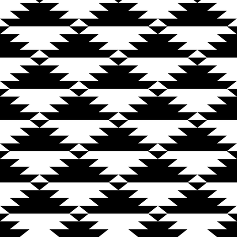 Black & White Tribal (horizontal) fabric by kimsa on Spoonflower - custom fabric