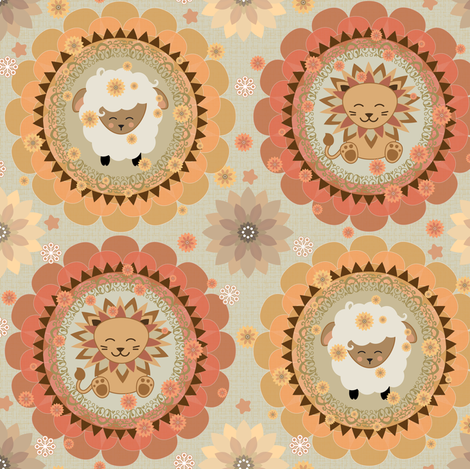 Lions and Lambs fabric by kimsa on Spoonflower - custom fabric