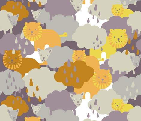Cloudy lions and lambs fabric by katarina on Spoonflower - custom fabric