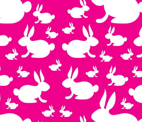 Bunnies on Pink Background fabric by lesrubadesigns on Spoonflower - custom fabric