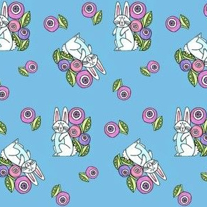 White Rabbit Floral Print, Bunny A