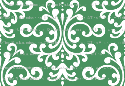 damask lg green and white
