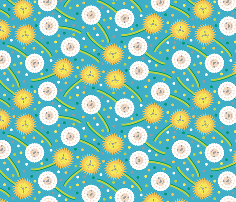 Dandelions and Lambs fabric by modgeek on Spoonflower - custom fabric