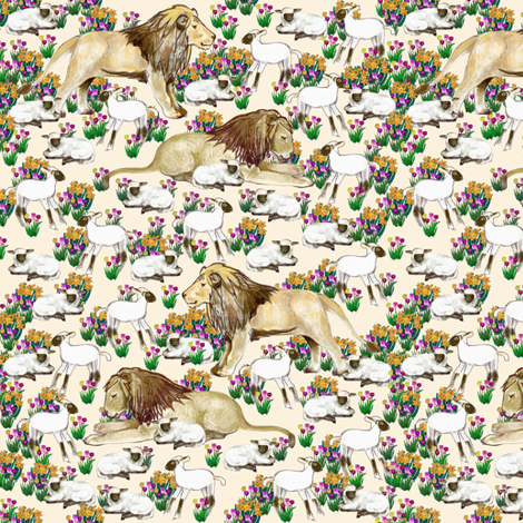 Lions and Lambs fabric by eclectic_house on Spoonflower - custom fabric