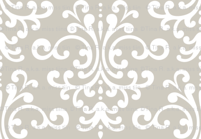 damask beige and white