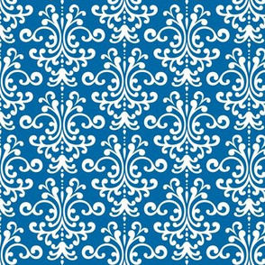 damask blue and white