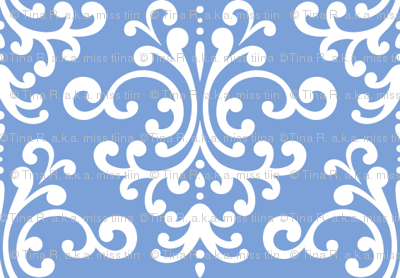 damask cornflower blue and white