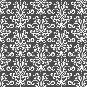 damask dark grey and white