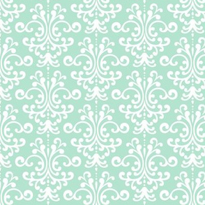 damask mint green and white