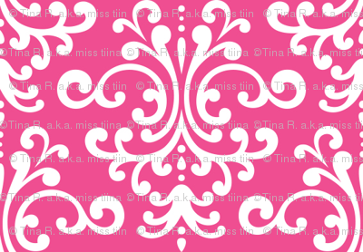damask dark pink and white