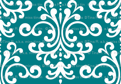 damask dark teal and white