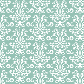 damask faded teal and white