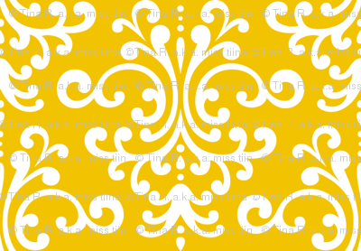 damask golden yellow and white