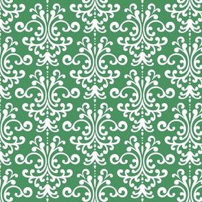 damask green and white