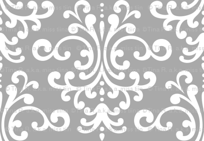 damask grey and white