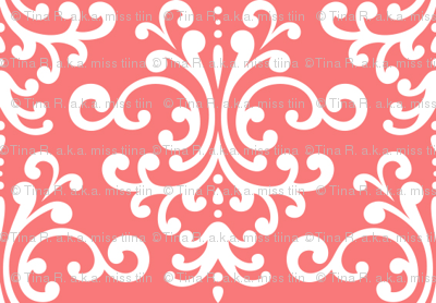 damask coral and white