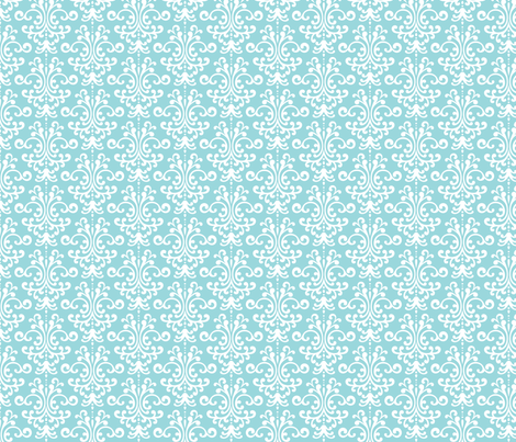 damask teal and white
