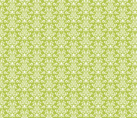 damask lime green and white fabric by misstiina on Spoonflower - custom fabric