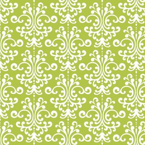 damask lime green and white