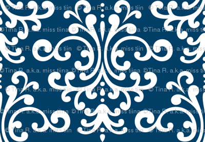 damask navy blue and white