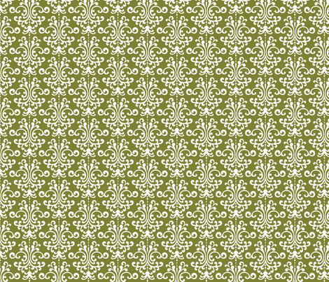 damask olive green and white