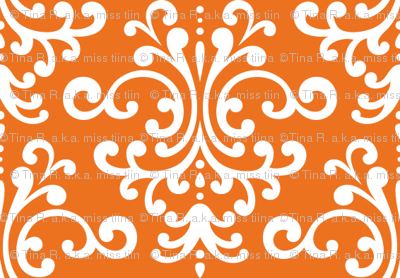 damask orange and white