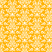 damask pumpkin orange and white