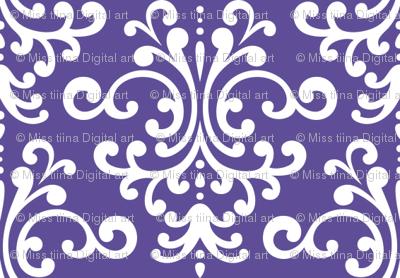 damask purple and white