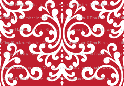 damask red and white